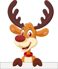 Cute deer holding blank sign Isolated on white background