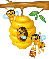 Illustration of branch of a tree with a beehive and  bees