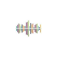 Sound wave icon - vector equalizer music element or symbol