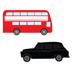 London bus and cab