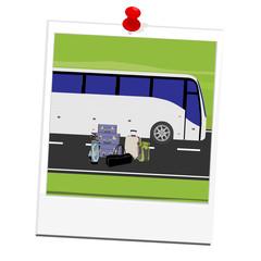 Polaroid picture tourist bus