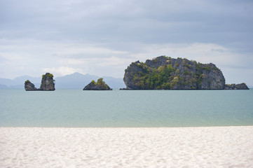 Malaysia, Langkawi. View of the beach and the cliffs of the Anda