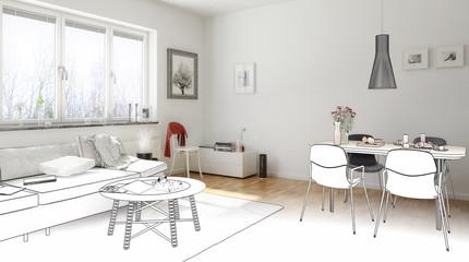 Wohn- und Esszimmer (Zeichnung)