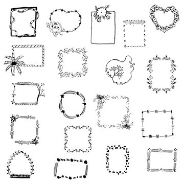 picture frame drawing set vector on white isolated