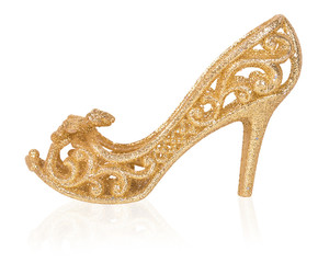 golden women shoe, Christmas decoration