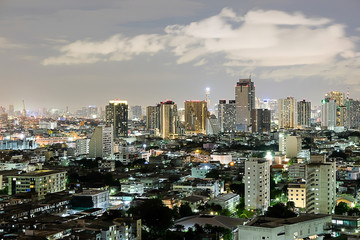 the atmosphere city in the bright night in the Bangkok , Thailand