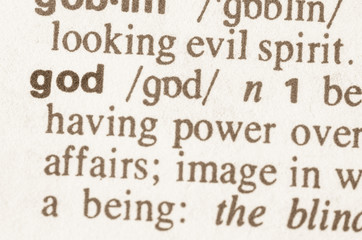 Dictionary definition of word god
