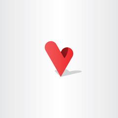 3d heart letter v logo vector design