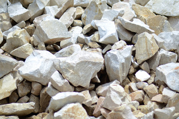 pile of stones in limestone mining