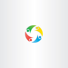 people circle teamwork logo vector icon element colorful
