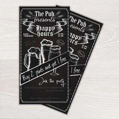 vector chalkboard printable flyer - invitation to the pub with beer mug and glasses on wooden desk