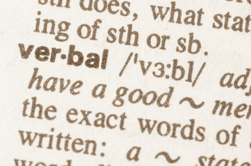 Dictionary definition of word verbal