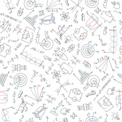 Seamless pattern with formulas,graphs, and equipment as the subject of physics with colored markers on white background