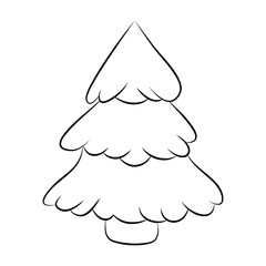 Christmas tree silhouette, cartoon design for card,  icon, symbol. Winter vector illustration isolated on white background.