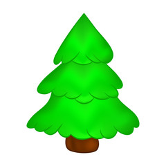 Christmas tree, cartoon design for card,  icon, symbol. Winter vector illustration isolated on white background.