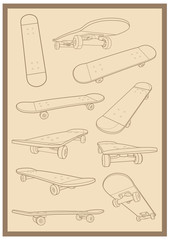 skateboard outline 02 vector set collection