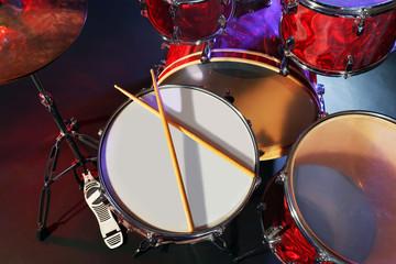 Drums set and sticks, close-up