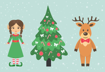 deer and girl elf with braid and fir-tree