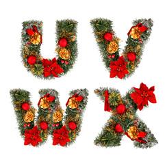 Christmas alphabet, letter U V W X. isolated on white