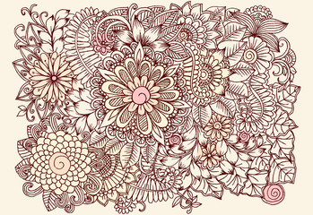 Vintage cadrd with doodle flowers