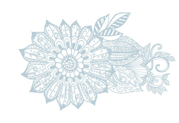 Vector doodle one-color flowers