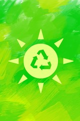 Eco friendly sun on green  background