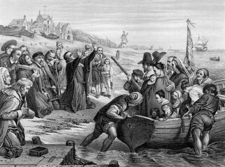 An engraved illustration of the Pilgrim Fathers leaving England, from a Victorian book dated 1886 that is no longer in copyrigh Fotomurales
