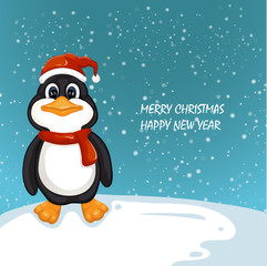 Illustration of Cute Christmas penguin .Merry Christmas and Happy New Year design