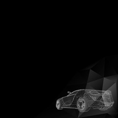 Abstract Creative concept vector background of 3d car model. Vector icons. Abstract Creative concept vector background