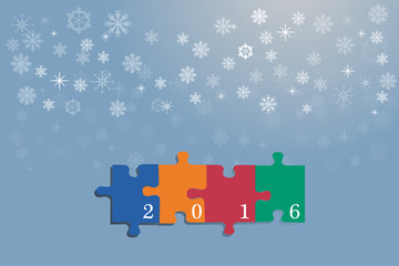Happy new year card of colrful puzzle pieces
