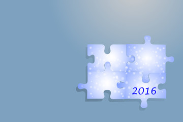 Four puzzle pieces with blue gradient, snowflakes and numers 2016 are together. All on the trendy blue background with light.