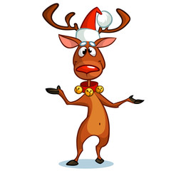 Christmas reindeer in Santa Claus hat pointing a hand. Vector illustration on snowy background