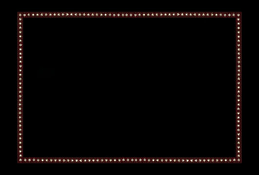 Red Back stage Light on black Space Background Frame