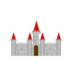 Old brick castle with red towers in vector