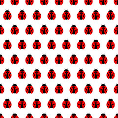 Seamless vector pattern with insects, symmetrical background with bright little ladybugs, over white backdrop