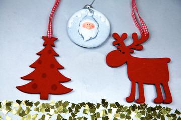 Christmas. Reindeer and Christmas tree isolate on white