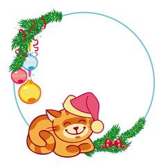Round Christmas frame and smiling red cat sitting under the fir branch.