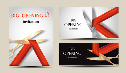 Set of invitation Big opening cards with red ribbons and scissors