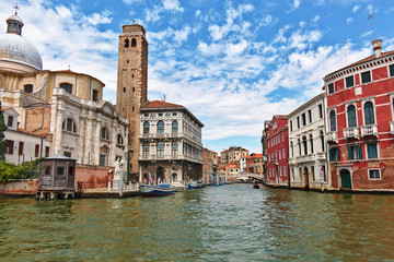 View to Canale di Cannaregio from the Grand Canal in Venice