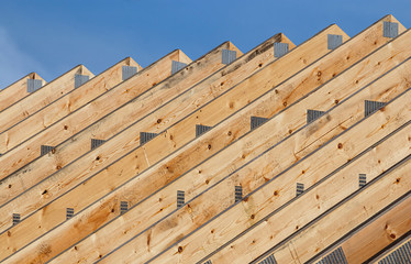 Roof trusses in a line