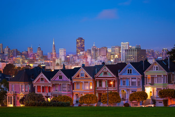Wall Mural - San Francisco night view from Painted Ladies