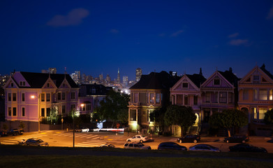 Wall Mural - San Francisco night view photos form Alamo square