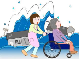 洪水で車いす老人と介護士が避難している