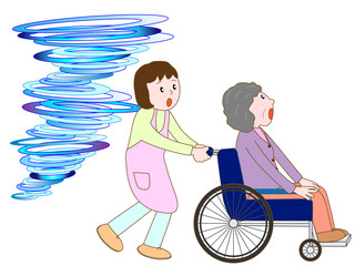 竜巻で車いす老人と介護士が避難している