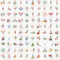 Snowman Icons And Christmas Elements Set - Vector Illustration