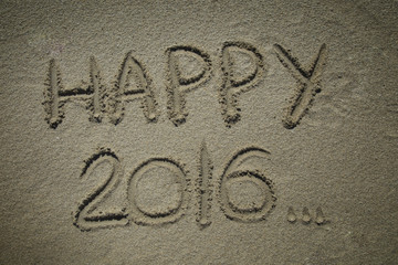 Happy 2016 in a sand