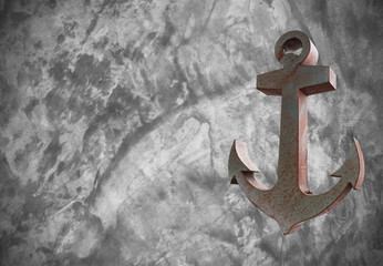 Old Steel anchor on Cement textured background