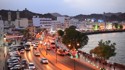 Wall Mural - Traffic at the corniche of the old town of Muttrah at night, Sultanate of Oman