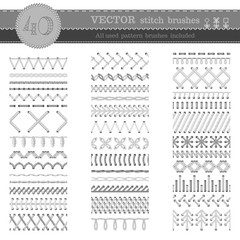 Vector set of white seamless stitch brushes.