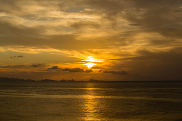 Beautiful sunset on the beach in island Koh Phangan, Thailand.